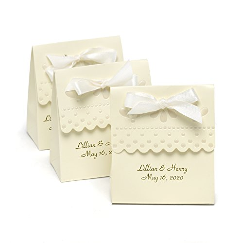 Personalized Cake Favor Boxes (Personalized Scalloped Edge Ivory Favor Boxes - Canopy Street - Custom Wedding Favors)