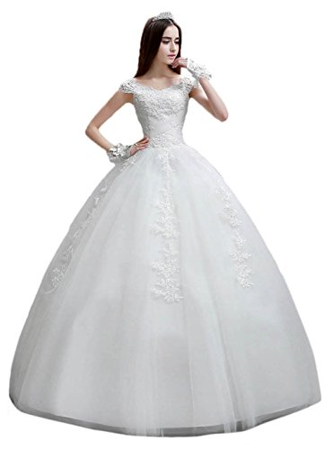 BessWedding Women's Scoop Neck Ball Gown Wedding Dress Lace Bridesmaid Dresses by BessWedding