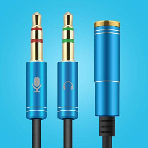 Cable,Baomabao 35cm Cable Adapter 3.5mm Stereo Audio Male to 2 Female Headset Mic Y Splitter (Blue) by Baomabao (Image #2)