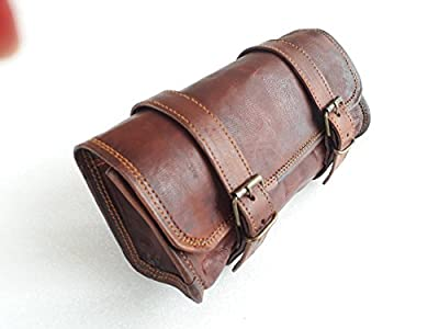 """Vintage Motorcycle Genuine Goat Leather 2 Strap Buckle Closure Tool Brown Bag Quick Release Clasp REINFORCED for handlebars,Forks, Sissy Bar - 10"""""""