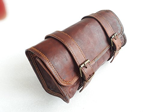 Genuine Leather Vintage Motorcycle 2 strap buckle closure Tool Bag Brown Handlebar Sissy Bar Tool Pouch Roll Bags 10