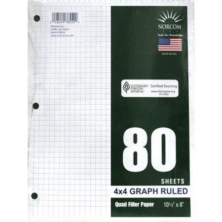 Norcom Quad Filler Paper, 10-1/2″ x 8″, 4 Squares/Inch