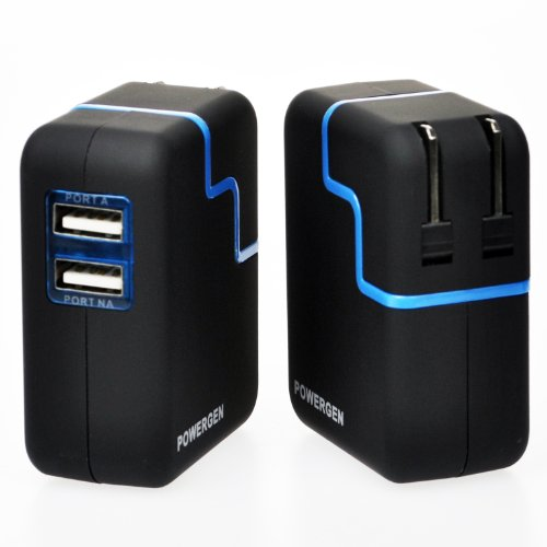 PowerGen PGCHAC31A-BK  Travel Wall Charger with Swivel Plug