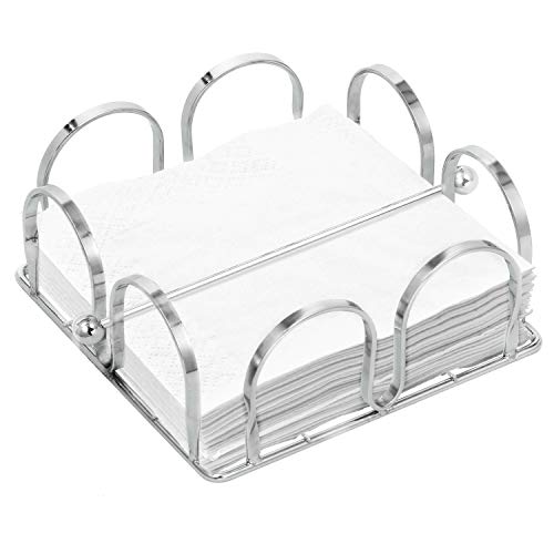 Arch Design Tabletop Napkin Holder with Weighted Arm, Chrome-Plated Square Tissue Dispenser, Silver
