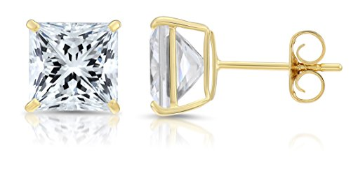 14k Yellow Gold Square Cubic Zirconia Princess-cut CZ Stud Earrings, Unisex (7mm, yellow-gold)