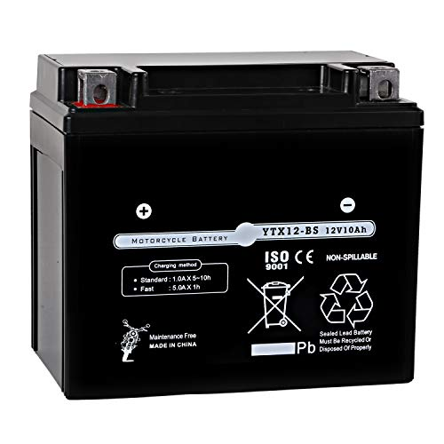 Weize YTX12-BS Motorcycle Battery High Performance - Maintenance Free - Sealed YTX12 BS AGM Rechargeable Batteries