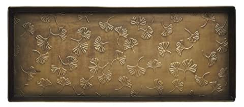 Home Furnishings by Larry Traverso Gingko Pattern Metal Boot Tray, 30-Inches by 13-Inches, Antique Brass - Home Furnishings