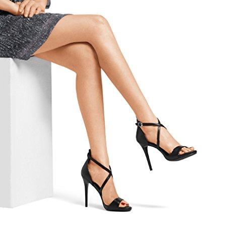 talon High Word Heels Nouveau à Bandage Chaussures ouvert 11 5cm 2018 Noir Femmes Femmes bout Sandales taille 35 à Blanc Cross Rainbow Couleur mince pfzdq4w