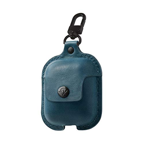 Twelve South AirSnap | Burnished Leather case for AirPods in Deep Teal