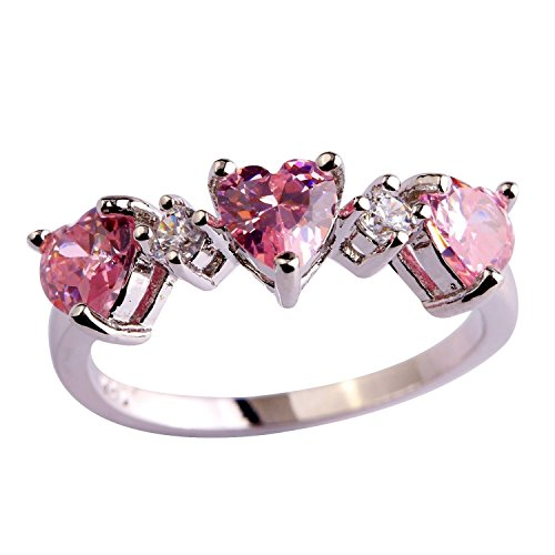 Psiroy 925 Sterling Silver Grace Womens Band Charms Gorgeous 4mm4mm Heart Cut Cz Created Pink Topaz Filled Ring