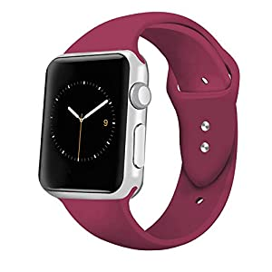 iGK Sport Band Compatible for Apple Watch 38mm, Soft Silicone Sport Strap Replacement Bands Compatible for iWatch Apple Watch Series 3, Series 2, Series 1 38mm Wine Red Small