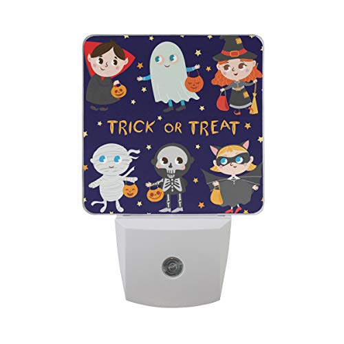 Plug-in LED Night Light Lamp Funny Halloween Costumes Printing with Dusk to Dawn Sensor for Bedroom, Bathroom, Hallway, Stairways, 0.5W-2 Pack -