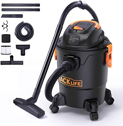 TACKLIFE Wet Dry Vacuum, 5 Gallon, 5.5 Peak HP with 17 FT Clean Range, 4-Layer Filtration System and Safety Buoy Technology for Dry Wet Blowing – PVC01A