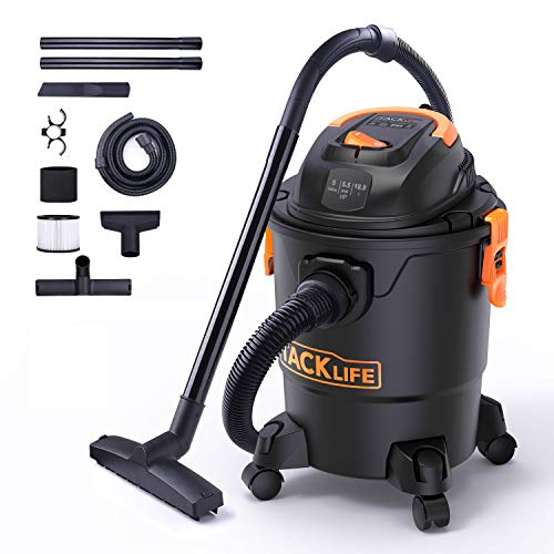 TACKLIFE Wet Dry Vacuum, 5 Gallon, 5.5 Peak HP with 20 FT Clean Range, 4-Layer Filtration System and Safety Buoy Technology for Dry Wet Blowing, Multipurpose Accessories Included – PVC01A