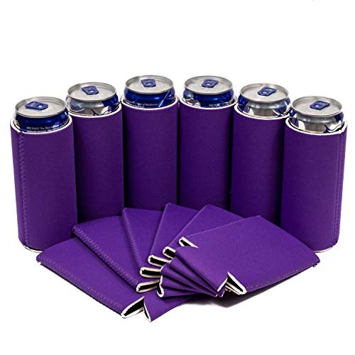 QualityPerfection - 12, Purple Slim Can Cooler Sleeve - Beer Blank Skinny 12 oz Neoprene Coolie - Perfect For 12 oz Red Bull,Michelob Ultra,Truly, White Claw(12, Purple)