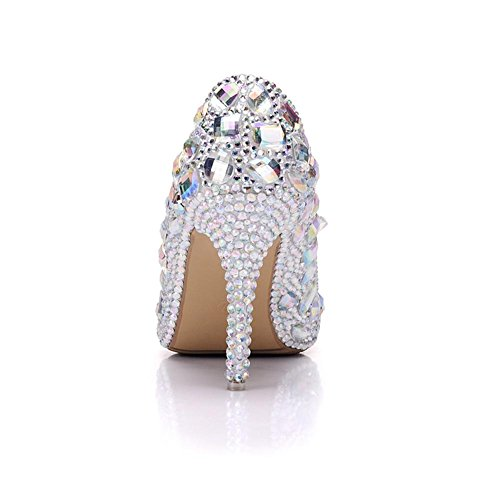 Wedding Bridal Shoes Women's High Heel Crystal Rhinestone Evening Catwalk Ladies Court Shoes Pumps Closed Toe Size 35-41 White QgMji6bd