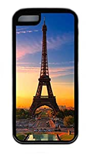 iPhone 5C Case, Personalized Protective Rubber Soft TPU Black Edge Case for iphone 5C - Eiffel Tower05 Cover