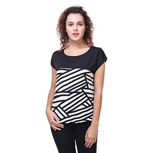 Deewa Black  amp; White Vertically Striped Top