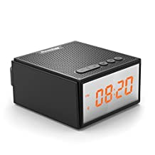Reacher Shower Wireless Bluetooth 4.0 Speaker, Travel Alarm Clock Radio, USB input Computer Speaker, 3.5 mm AUX Line in, with LED Display Screen TWS, DSP, EQ, HD Bass Technology for Apple Iphone etc