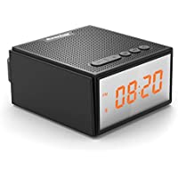 Reacher waterproof wireless bluetooth speaker dimmable loud alarm clocks radio fm for bedrooms, kids,heavy sleepers,shower, with stereo bass sound, led display, TWS DSP EQ technology