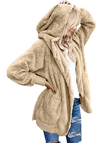 Vetinee Women's Faux Fur Coat Hooded Cardigan Fuzzy Fleece Long Jacket Outerwear Apricot Size L