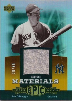 2006 Upper Deck Epic Materials Relics #EM-JD3 Joe DiMaggio Game Worn Jersey Baseball Card - Only 99 made!