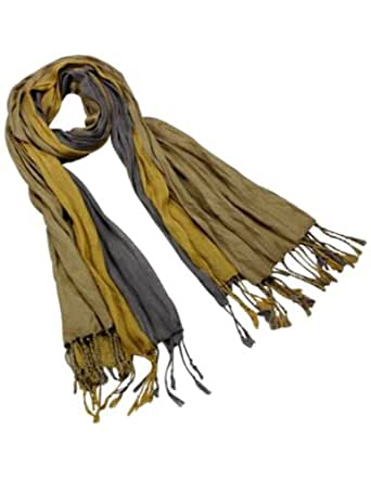 Dahlia Men's Rayon Triple Color Layer Fringed Scrunch Long Scarf - Copper/Gray