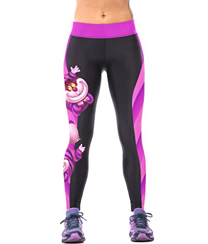 ZIOOER Fitness Yoga Sport Pants Printed Stretch Ankle Legging, Cheshire Cat, One Size ()