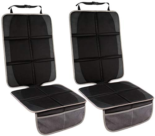 Baby Car Seat Protector,(2 Pack) Large Car Seat Protector with Thickest Padding for Infant Child Safety Seat,Dog Mat Vehicle Cover Pad with Organizer Pockets, Protects SUV Sedan Leather Seats from MATEIN