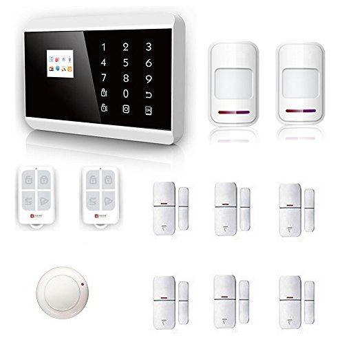 Security Alarm System 433Mhz Easy to Operate Touch Keypad GSM SMS and landline telephone Android/IOS APP Wireless Home Burglar alarm system for Complete Home and Business (Wireless Home Security Systems Keypad)