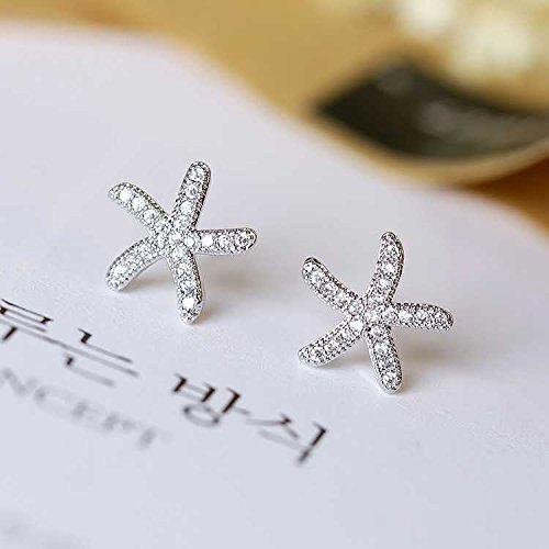 usongs Needle s925 micro mini mosaic sea star starfish earrings simple woman (Starfish Earrings Mini)