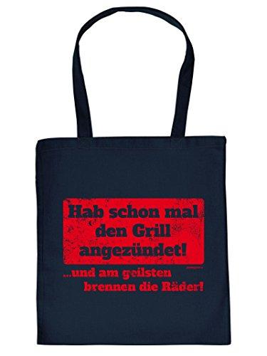 ..Grill angezündet! -Tote Bag Henkeltasche Beutel mit Aufdruck. Tragetasche, Must-have, Stofftasche. Geschenkidee