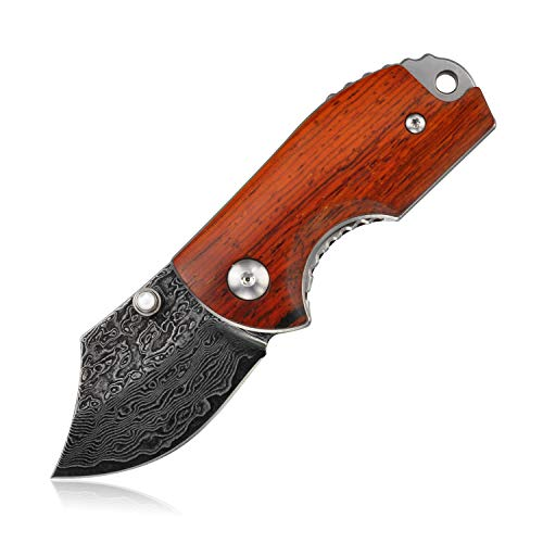 KUBEY DM143-1 Multipurpose Folding Knife Etched Damascus Blade Rosewood Handle Camping EDC Outdoor Pocket Knife Thumb Stud Opening with Liner Lock (#DM143-1)