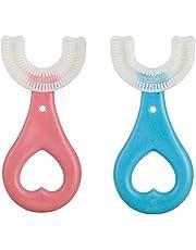 Tumnea All Rounded tandenborstel voor kinderen, U-vorm, tandenborstel met siliconen borstelkop, massage-tandvlees, levensmiddelenkwaliteit, voor kinderen en baby's, 2 stuks