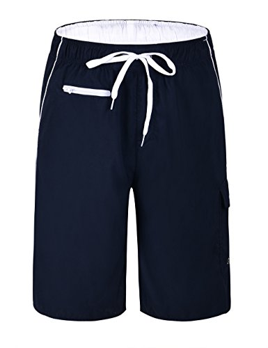 Trunks Lined Hawaiian Swim (Unitop Men's Swim Trunks Quick Dry Hawaiian Assorted Surf Shorts Navy&White 34)