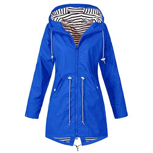 Femme Pluie Bleu Grande À Zip Imperméable Waterproof Ponchon Taille Casual Manteau Capuche Blouson De Trench Parka Veste Léger Raincoat Pluie qvTTtAHx