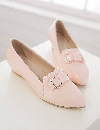 punta Casual A Formale pelle Rosa Pink Ballerine Finta Ufficio Beige Zeppe Donna ShangYi e lavoro Scarpe Zeppa Blu Fw0vBv
