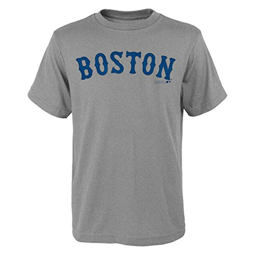 OuterStuff MLB Boston Red Sox Youth Boys 8-20 Wordmark Tee-L (14-16), Heather Grey (Youth Mlb Jersey Sox)