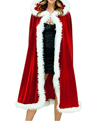 Christmas Women Red Hooded Cape Cloak Santa Cosplay Costume for Masquerade Party