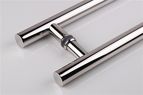 TOGU PL-6003 1500mm/60 inches Round Bar / H-shape/ Ladder Style Back to Back Stainless Steel Push Pull Door Handle for Solid Wood, Timber, Glass and Aluminum Doors,Mirror-Polished Chrome Finish