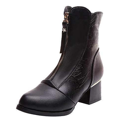 Women's Martin Boots,Clearance!AgrinTol Pointed Thick Velvet Bare Female British High-Heeled Boots