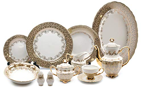 - Royalty Porcelain Brown and Gold Floral 57-pc Dinnerware Set