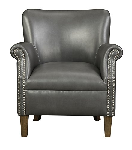 (Emerald Home Oscar Gray Accent Chair with Faux Leather Upholstery And Nailhead Trim)