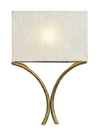 Currey and Company 5901 Cornwall - One Light Wall Sconce, French Gold Leaf Finish with Natural Linen Shade
