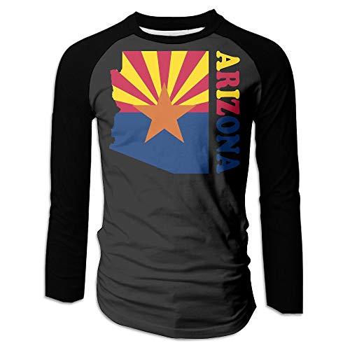 (Arizona Flag Map Men's Sports Round Neck Long Sleeve Shirts Raglan Tops)