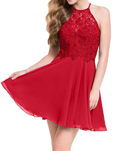 Damen Charmant Kurzes Rot Spitze Abendkleider Festlichkleider Cocktailkleider Mini Partykleider Tanzenkleider H6AF6qd