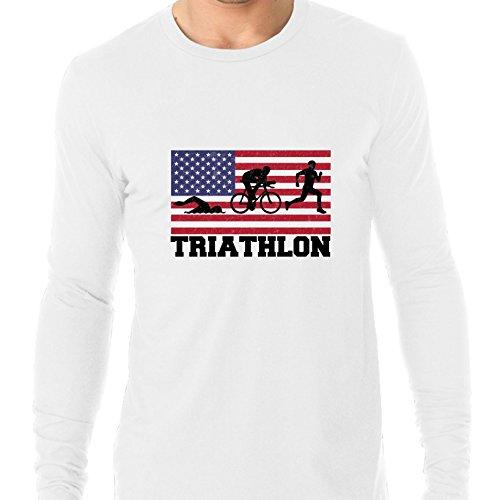 USA Olympic - Triathlon - Flag - Silhouette Men's Long Sleeve - Usa Triathlon