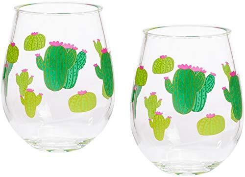 C.R. Gibson Green Cactus Plastic Stemless Wine Glasses, 2pc, 12 oz., 3.5'' W x 4.5'' H (Cactus Wine)