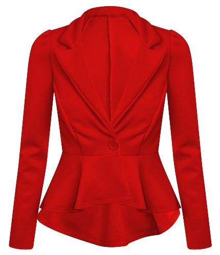 Ditzy Fashion Women's Crop Frill Shift Slim Fit Fitted Peplum Blazer Jacket Coat UK Small/Medium Red]()