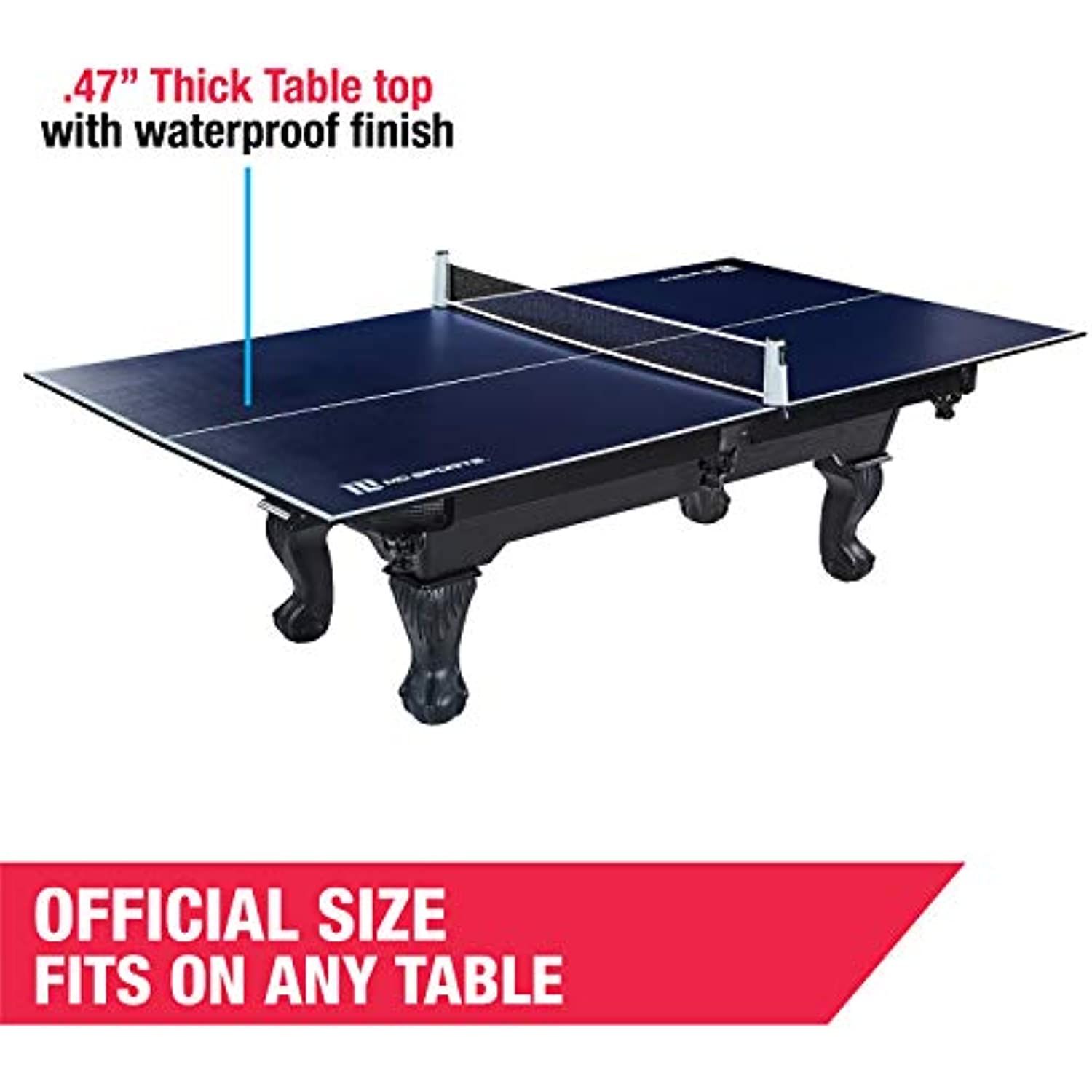 MD Sports Ping Pong and Table Tennis Conversion Tops, Regulation Size - Folding, Portable Tennis Top with Net - Fits Standard Air Hockey and Pool Tables - Fun, Easy Setup Game Equipment, Blue & White